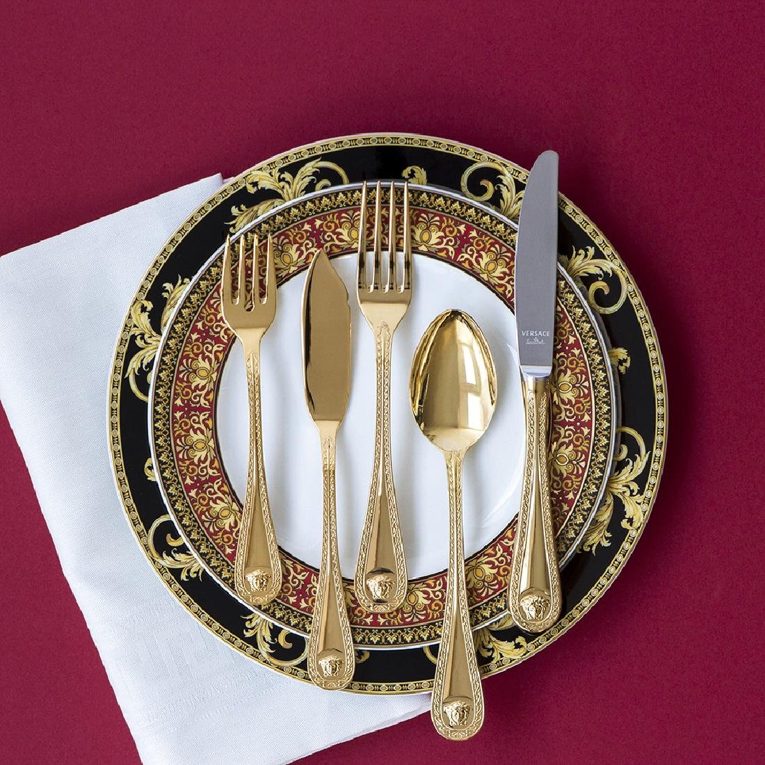 36 Piece Gilded Rosenthal Versace Cutlery Set