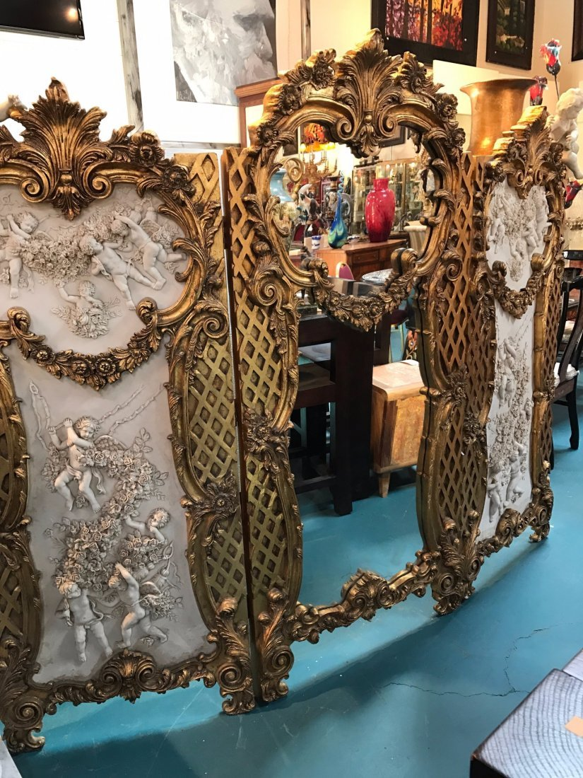 Three Panel Gilded Wood and Mirrored Screen