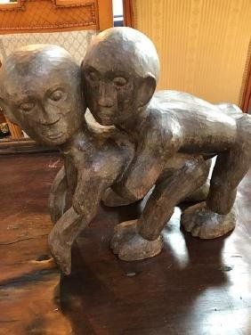 Unusual Carved Wood Copulating Couple