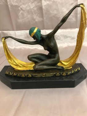 Art Deco Bronze Statue of Dancing Woman by C. Mirval