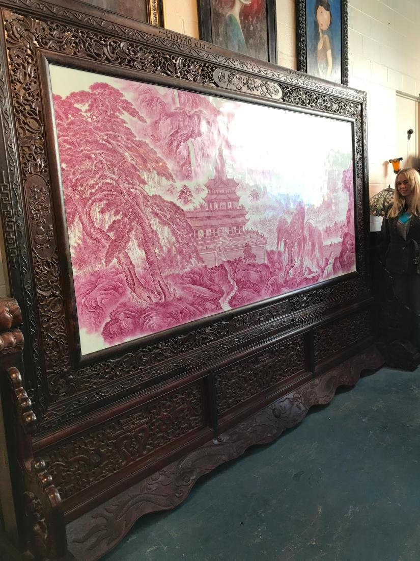 Large Chinese Porcelain Plaque w/ Carved Wood Stand