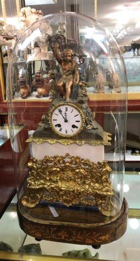 Antique French Bronze Clock w/ Dome