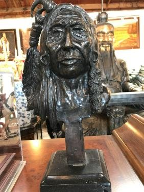 Bronze Statue of Native American Chief by Russell