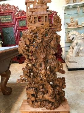 One of a Kind Chinese Carved Wood Statue