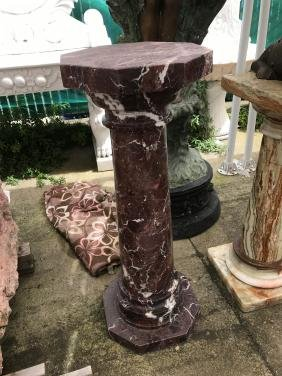 Maroon and White Granite Pedestal