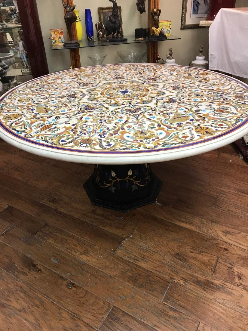 Magnificent Pietra Dura Round Mosaic Table