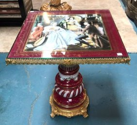 Porcelain And 24k Gold Gilded End Table