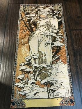 Small Art Nuevo Tapestry Of Woman In The Woods