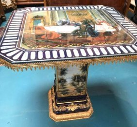 Porcelain And 24k Gold Gilded Bronze Table