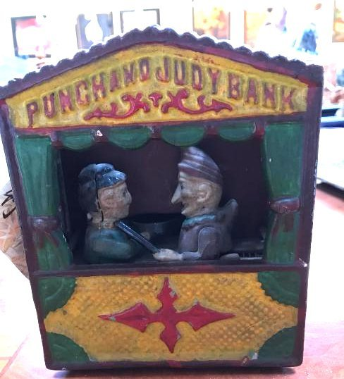 Punch and Judy Cast Iron Coin Bank