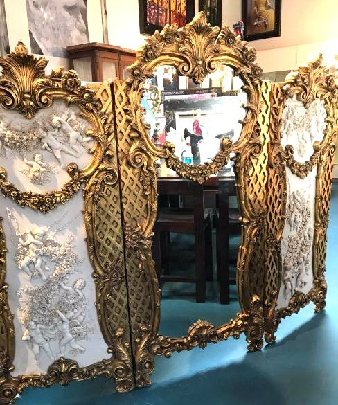 24k Gilded Wood 3 Panel Screen w/ Mirror