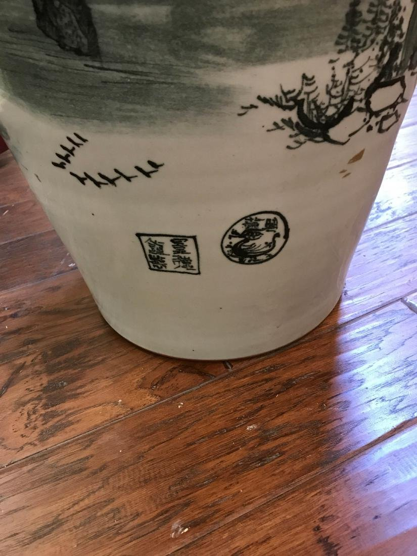 Large Chinese Porcelain Vase with River Scenery - 10