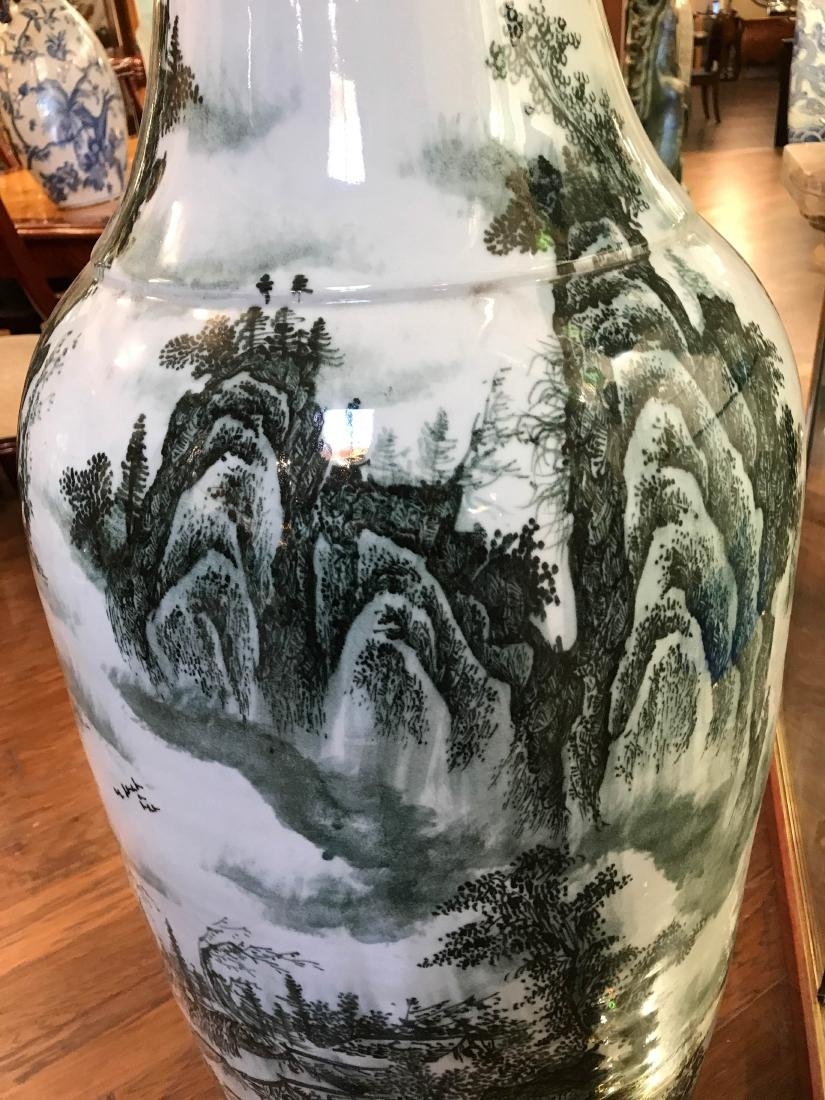 Large Chinese Porcelain Vase with River Scenery - 3