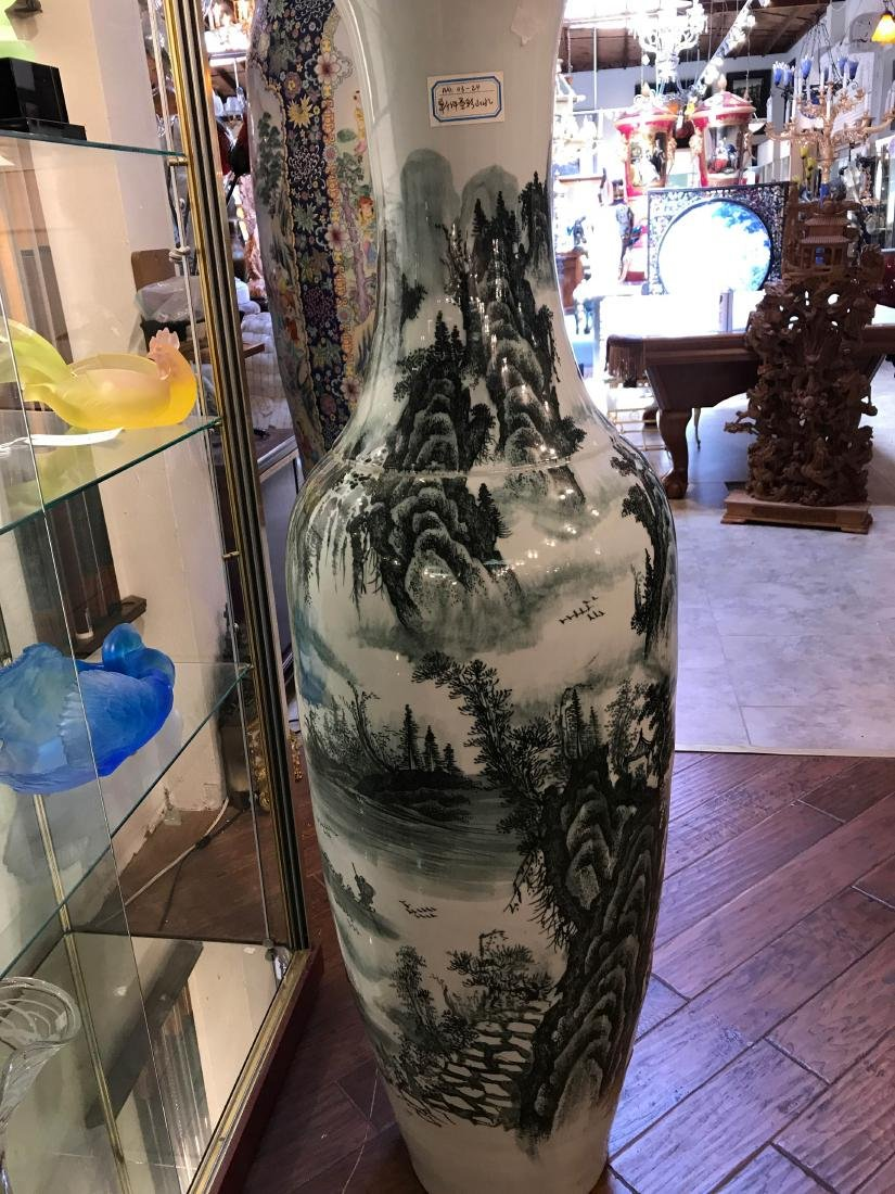 Large Chinese Porcelain Vase with River Scenery - 4