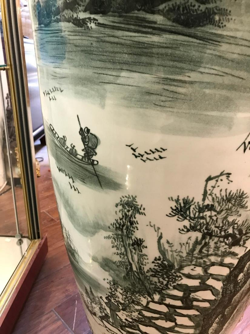 Large Chinese Porcelain Vase with River Scenery - 5
