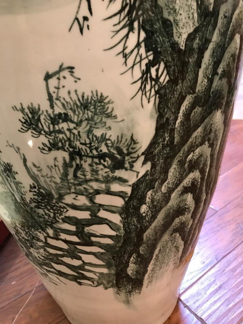 Large Chinese Porcelain Vase with River Scenery - 6