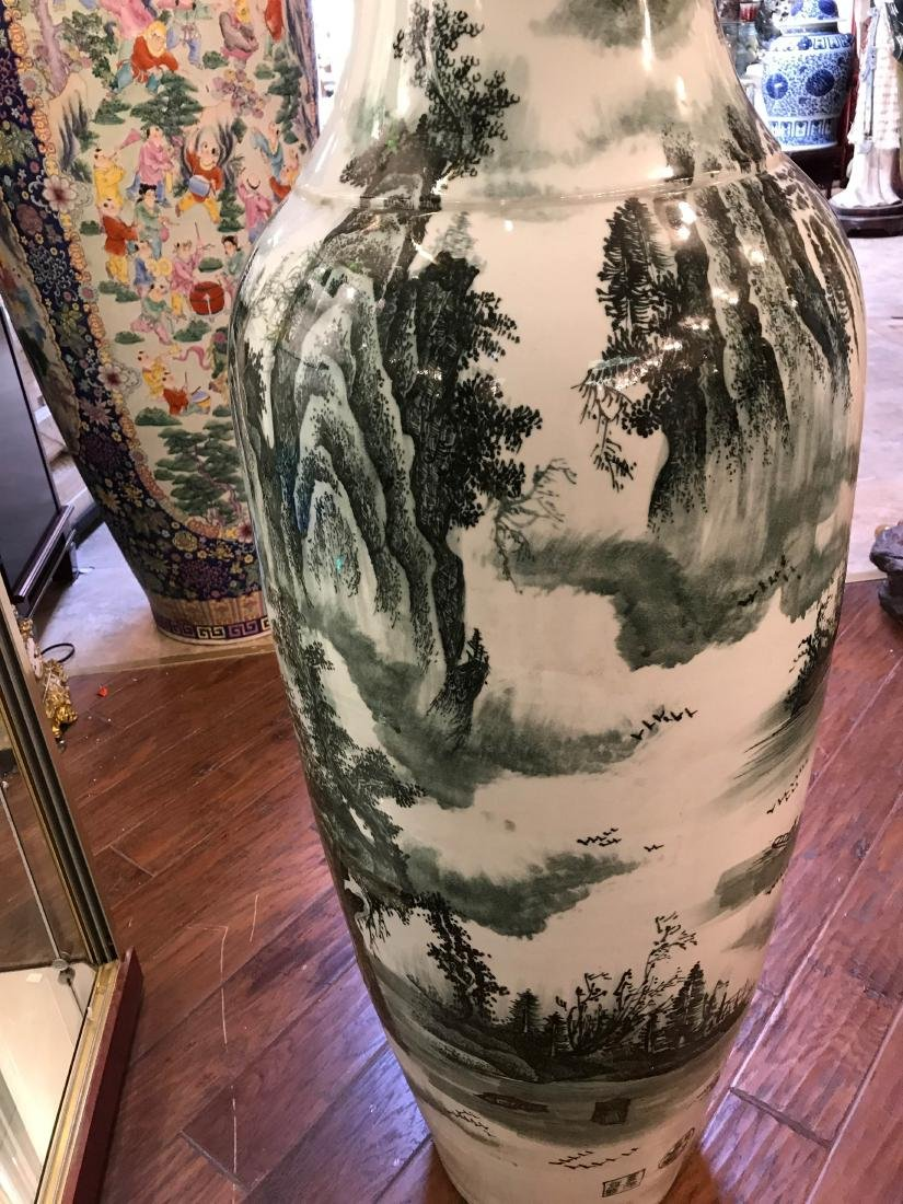 Large Chinese Porcelain Vase with River Scenery - 8