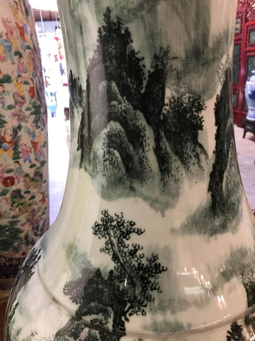 Large Chinese Porcelain Vase with River Scenery - 9