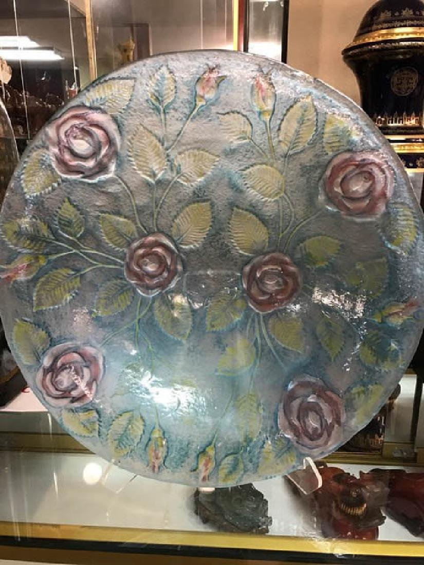 Large Hand-Blown Glass Dish w/ Roses and Leaves