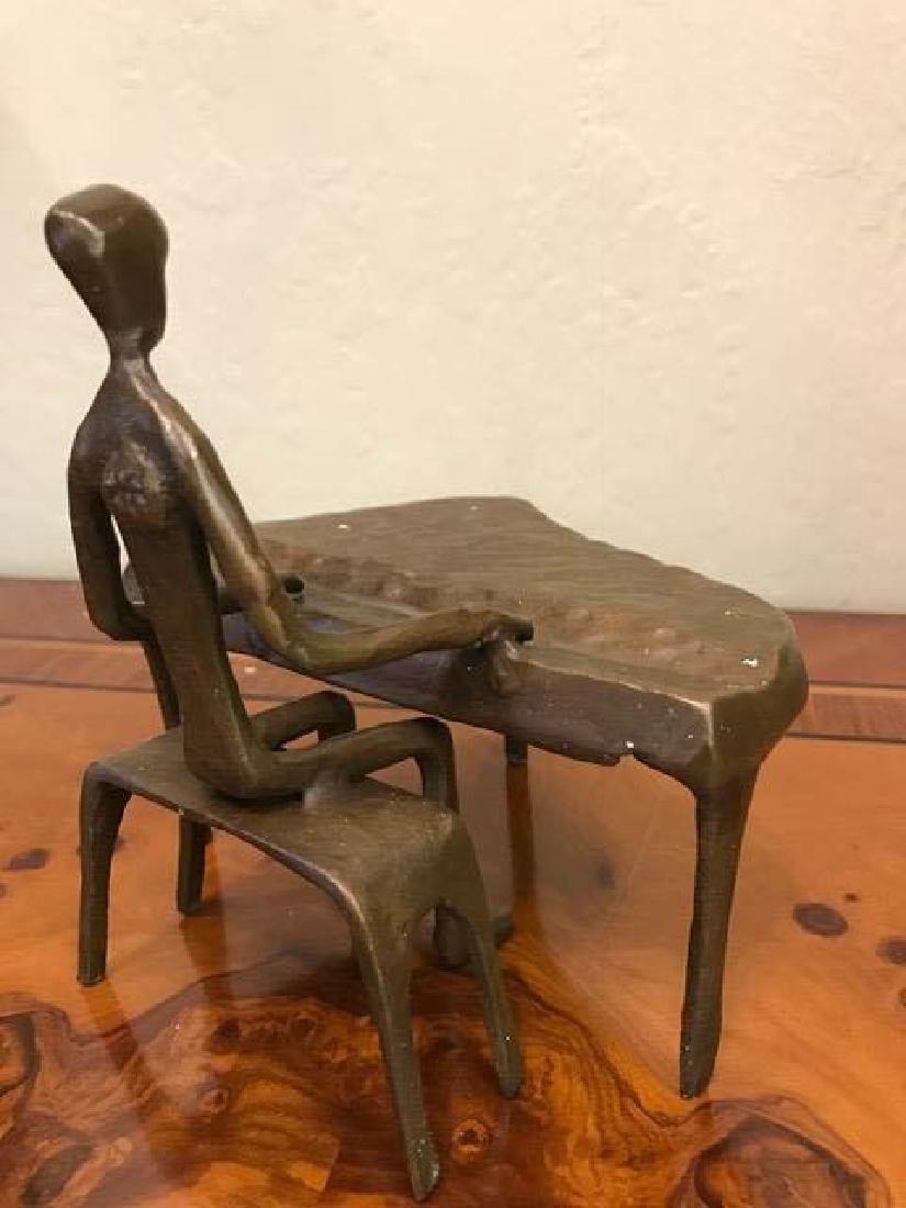 Miniature Bronze of Man Playing Piano - 3
