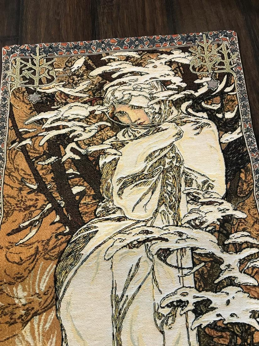 Small Art Nuevo Tapestry of Woman in the Woods - 2