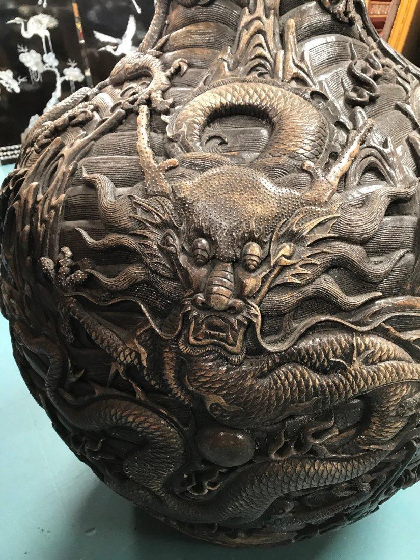 Large Chinese Hard Porcelain Dragon Vase - 2