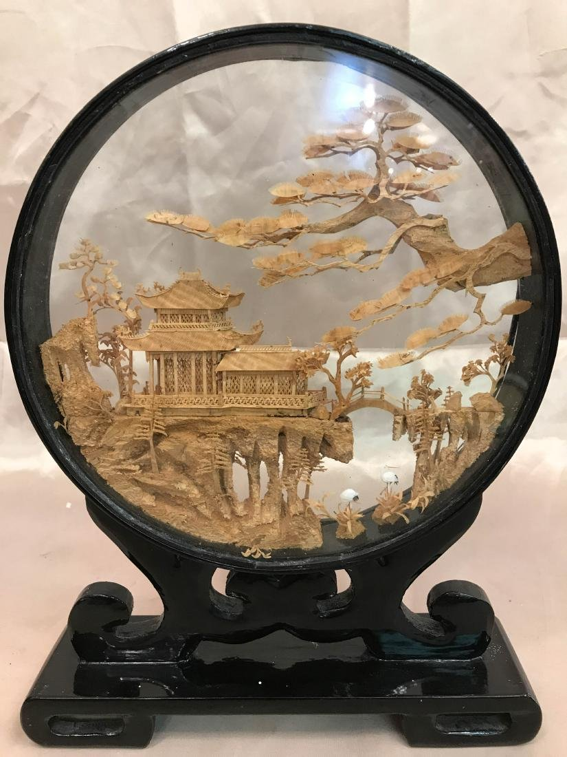 Chinese Carved Village Scene Encased in Stand
