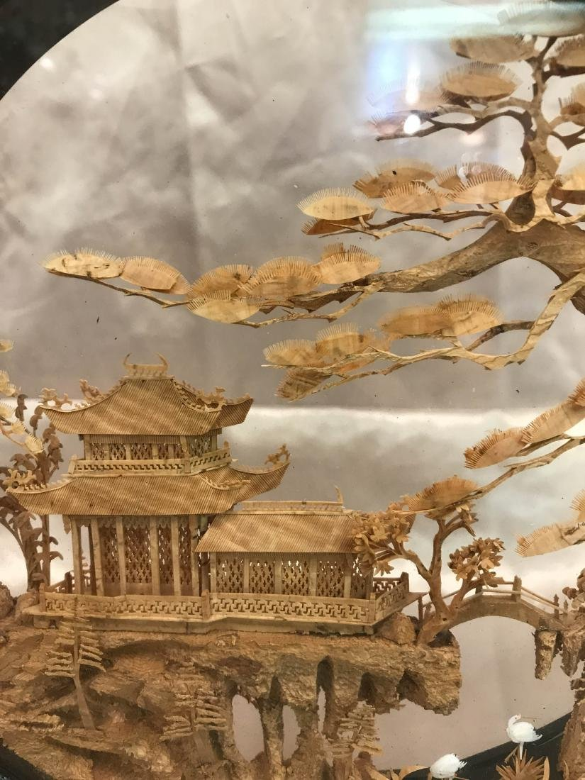 Chinese Carved Village Scene Encased in Stand - 3
