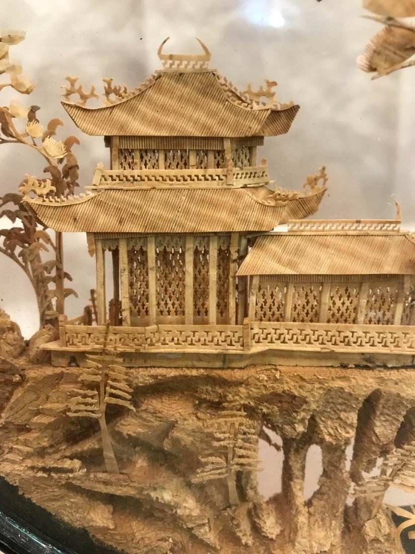 Chinese Carved Village Scene Encased in Stand - 4