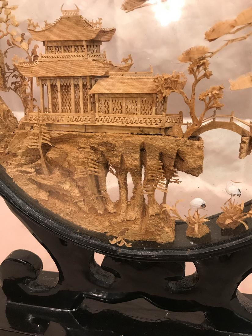 Chinese Carved Village Scene Encased in Stand - 6