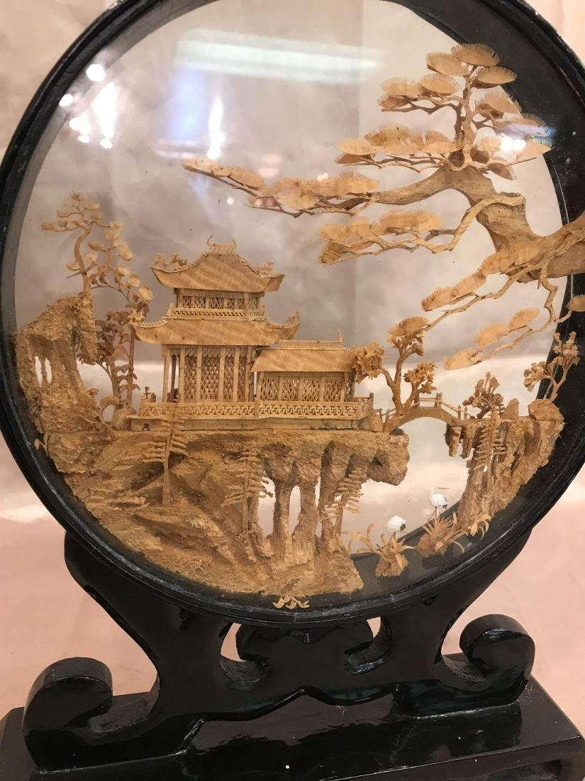 Chinese Carved Village Scene Encased in Stand - 8