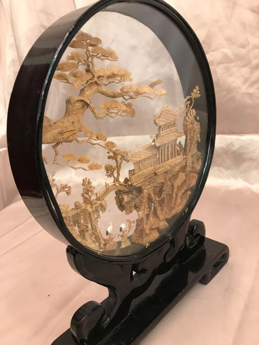 Chinese Carved Village Scene Encased in Stand - 9