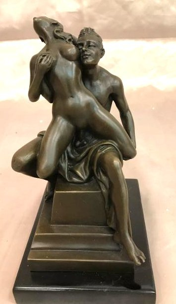 Erotic Bronze Statue of Man and Woman