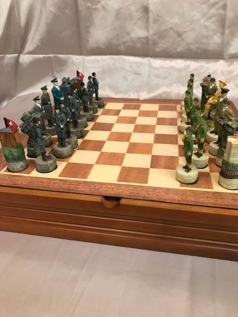 WWII Burled Wood Chess Set