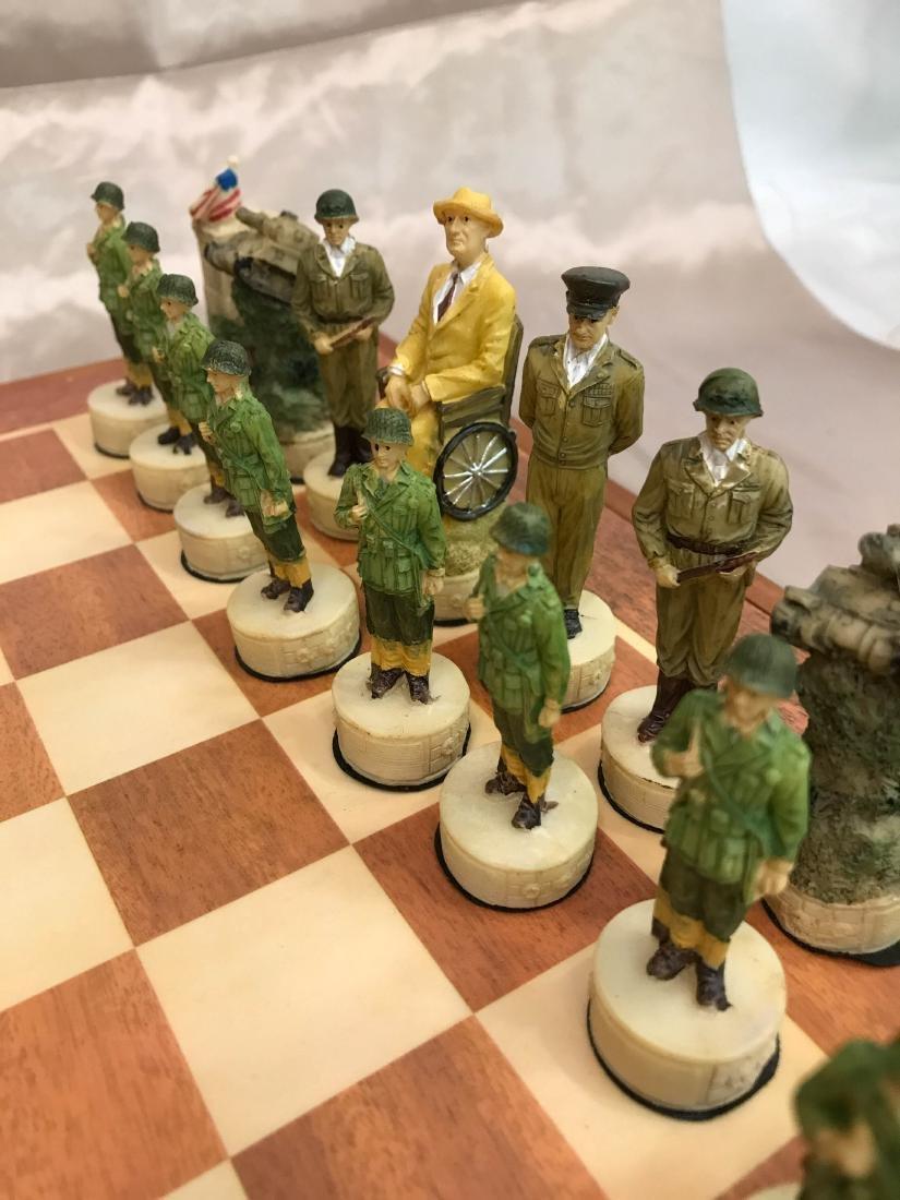 WWII Burled Wood Chess Set - 3