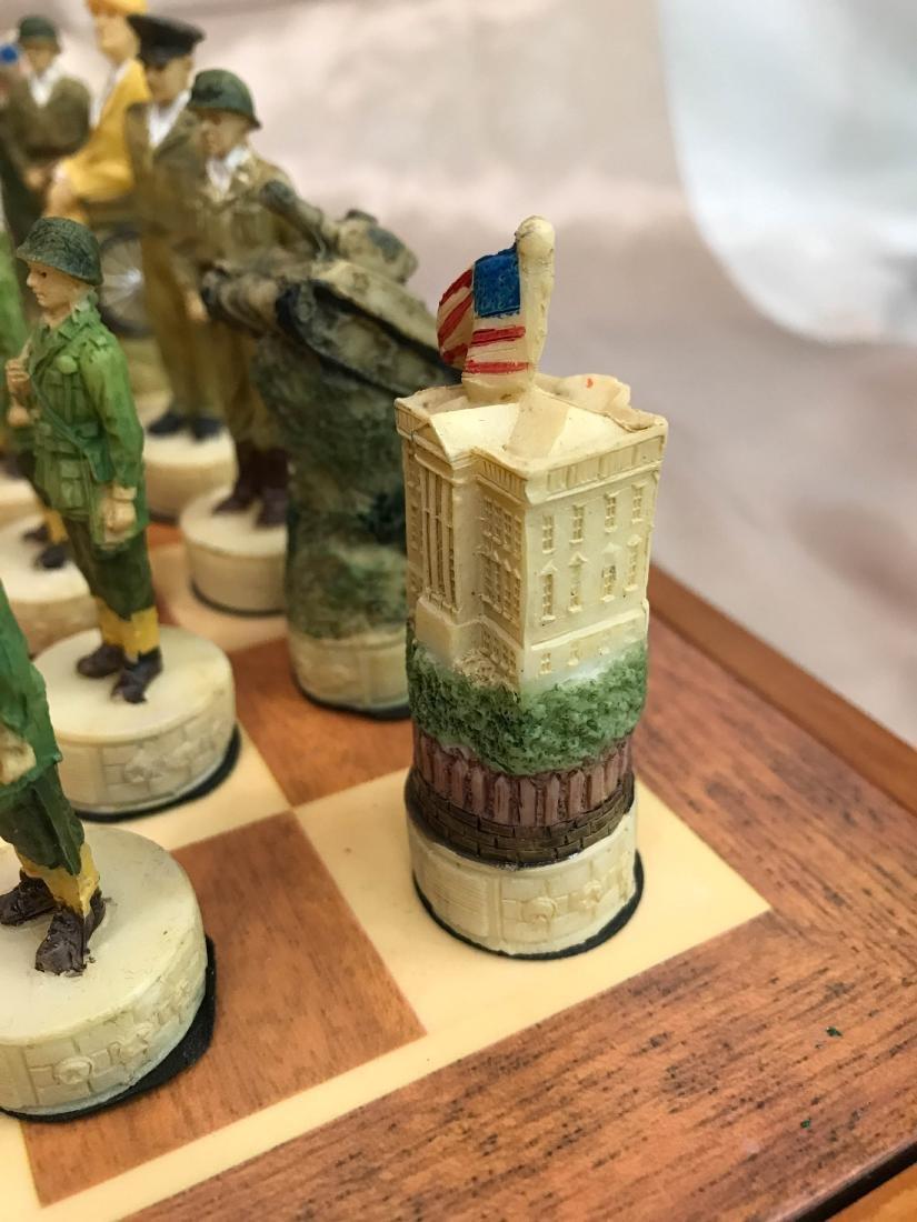 WWII Burled Wood Chess Set - 4