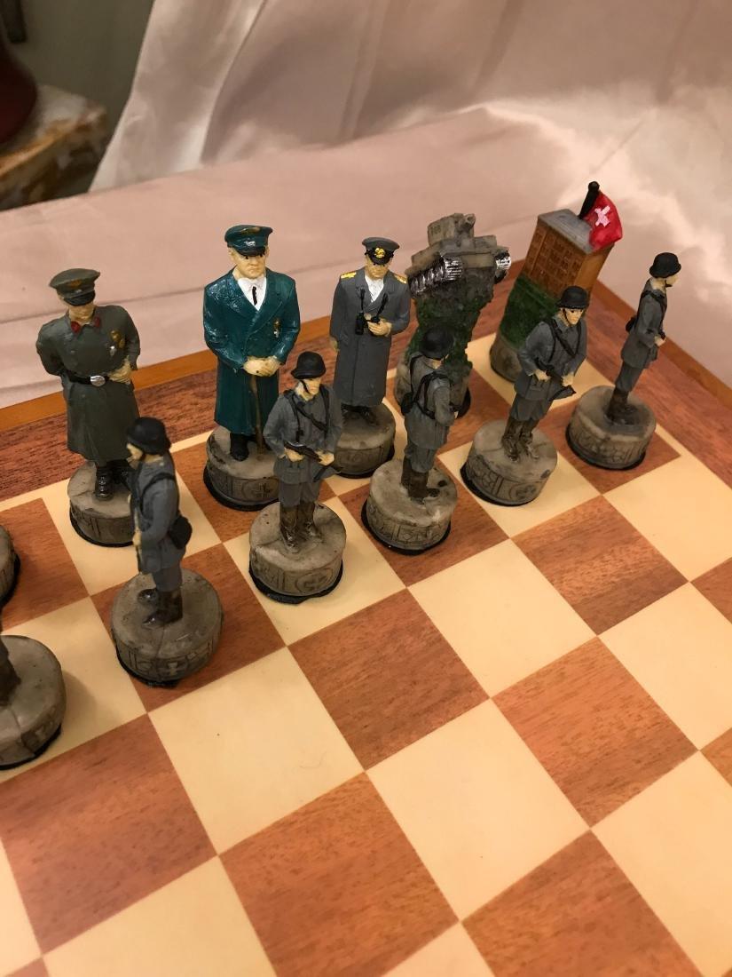WWII Burled Wood Chess Set - 6