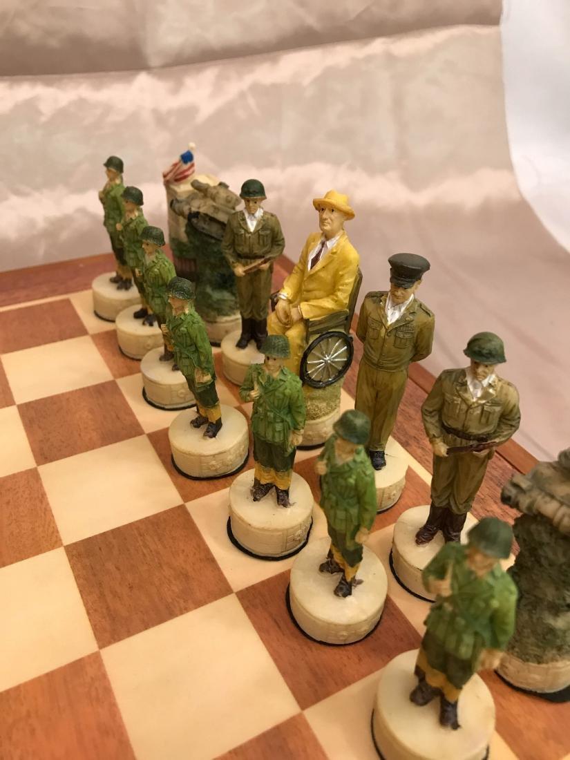 WWII Burled Wood Chess Set - 7