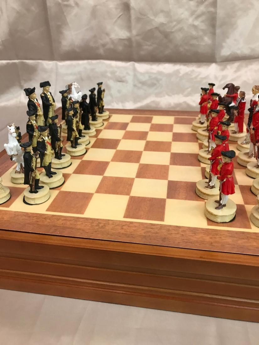 Revolutionary War Burled Wood Chess Set