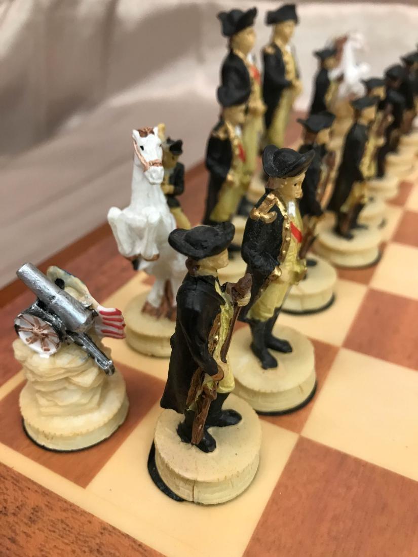 Revolutionary War Burled Wood Chess Set - 3