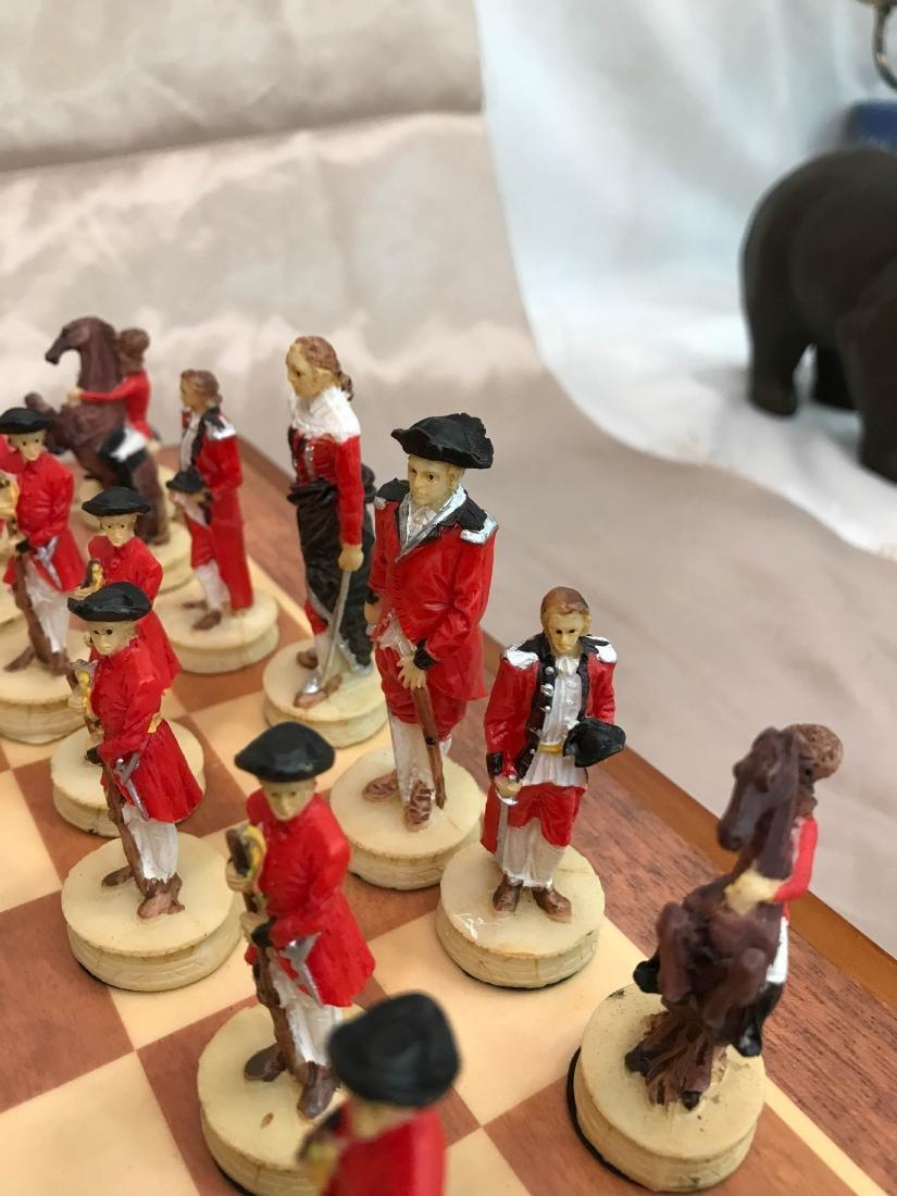 Revolutionary War Burled Wood Chess Set - 4