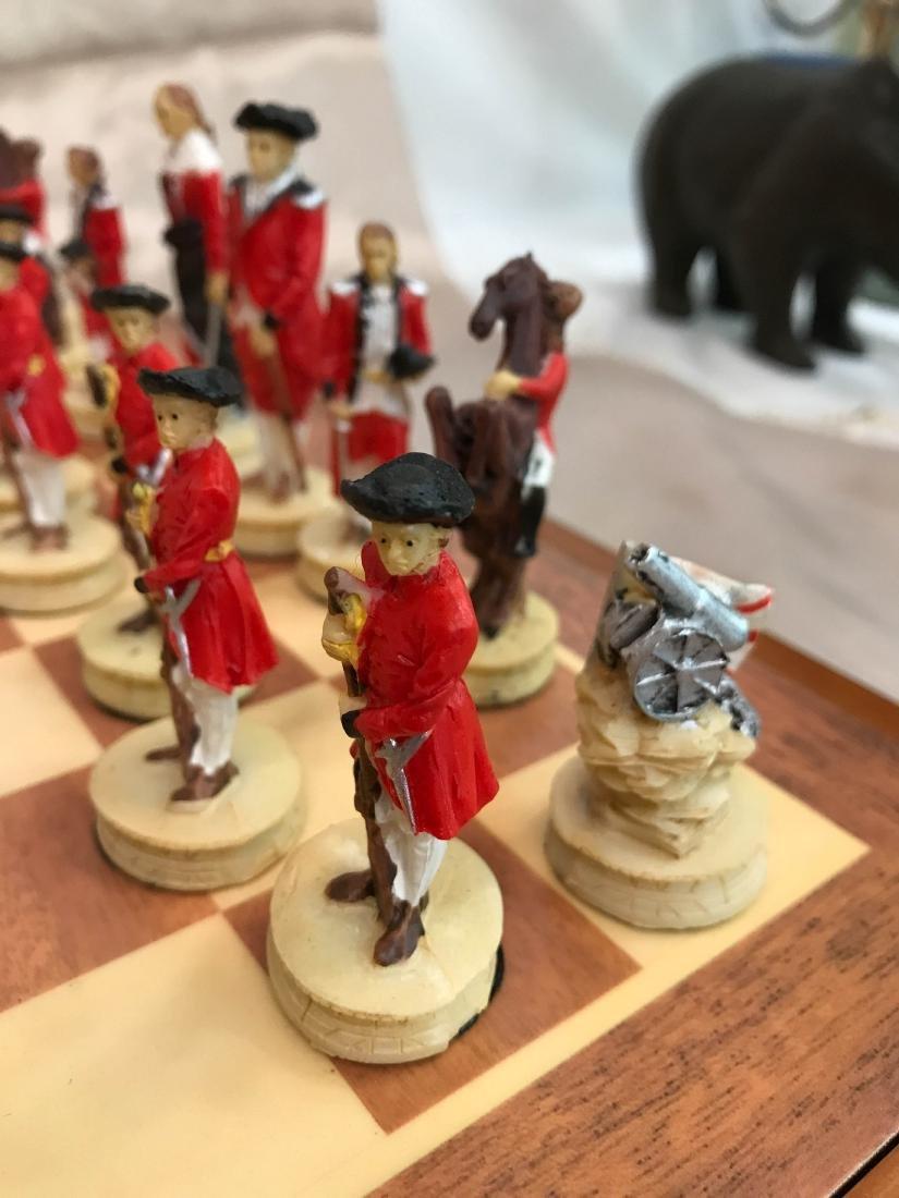 Revolutionary War Burled Wood Chess Set - 5