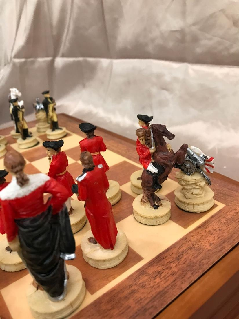 Revolutionary War Burled Wood Chess Set - 7