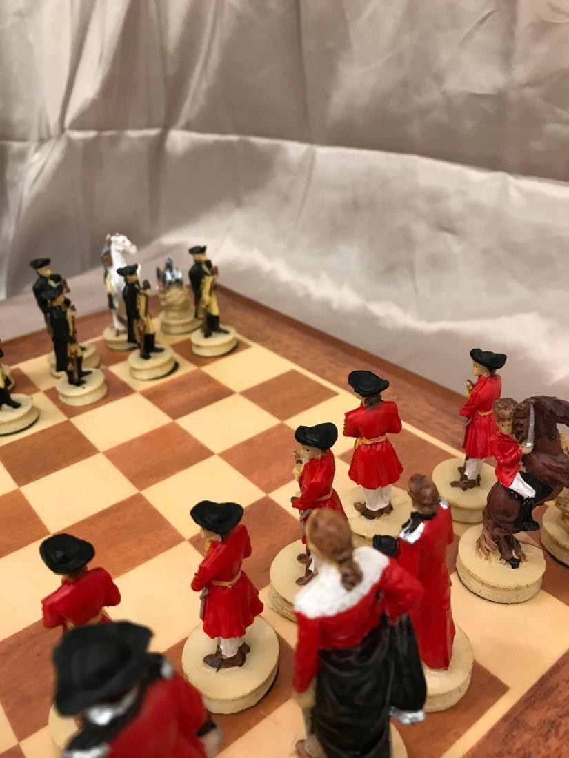 Revolutionary War Burled Wood Chess Set - 8