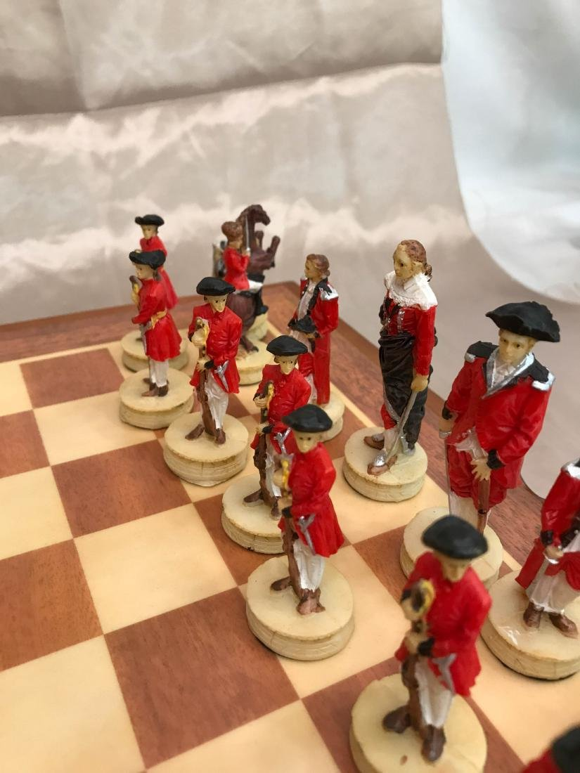 Revolutionary War Burled Wood Chess Set - 9