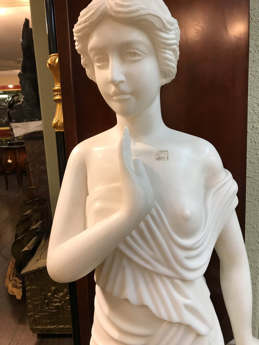 Solid White Marble Statue of Biblical Woman - 2