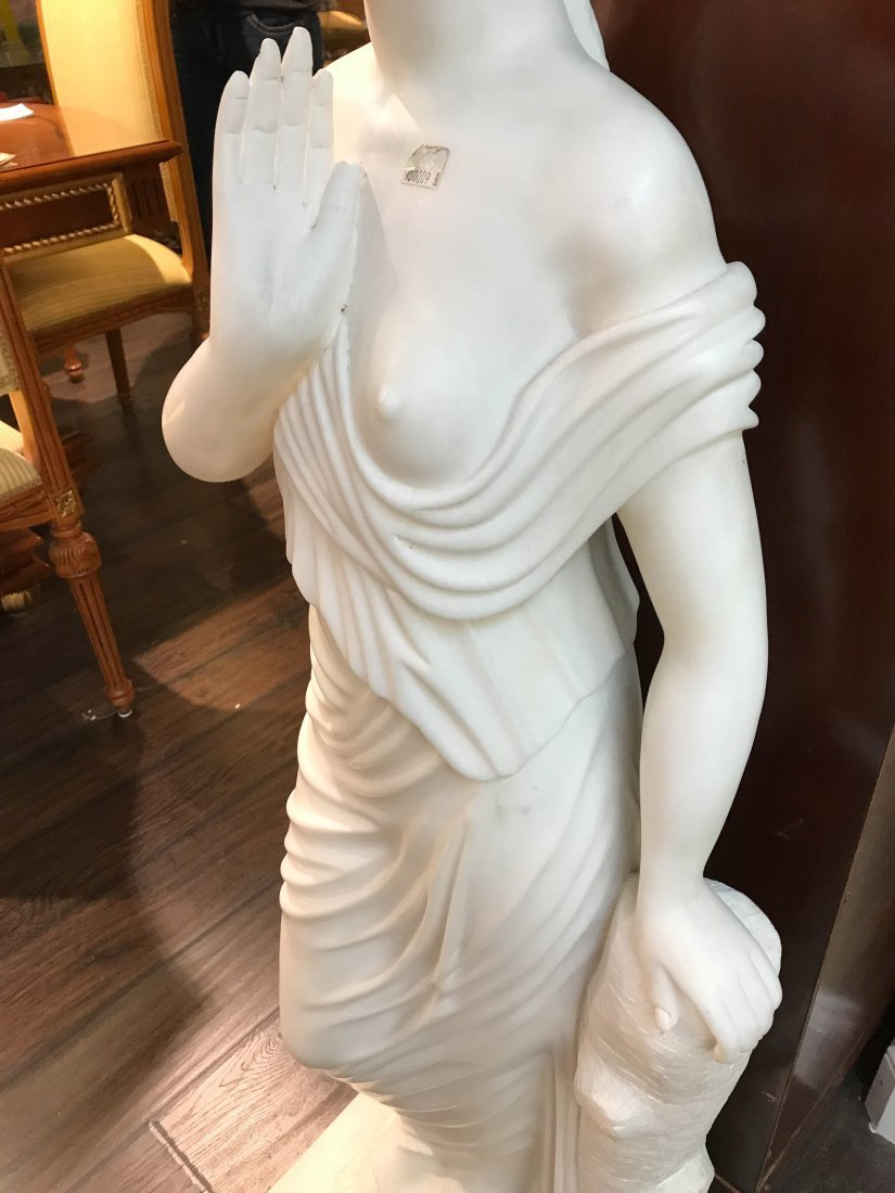 Solid White Marble Statue of Biblical Woman - 4