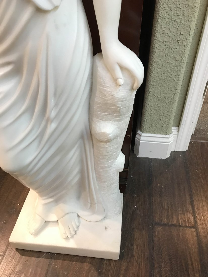 Solid White Marble Statue of Biblical Woman - 7