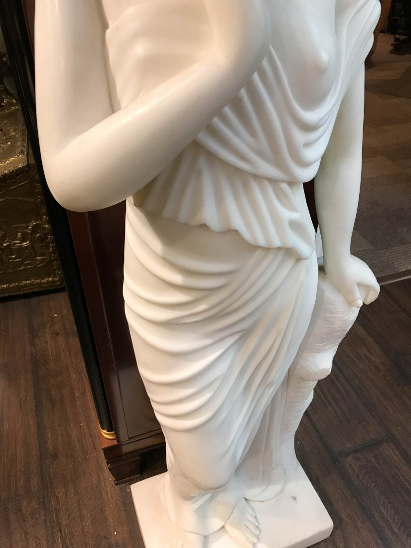 Solid White Marble Statue of Biblical Woman - 9