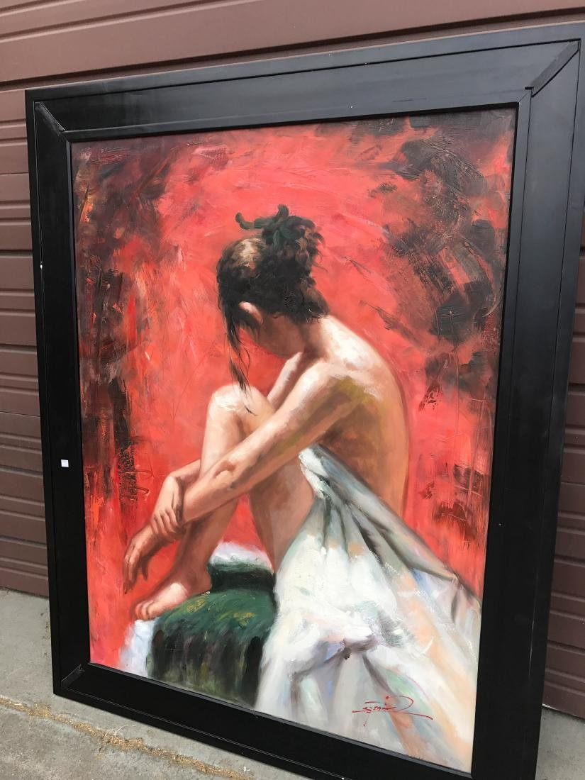 Abstract Oil on Canvas of Woman Sitting, Signed